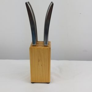 6 stainless steak knives with wooden holder Korea